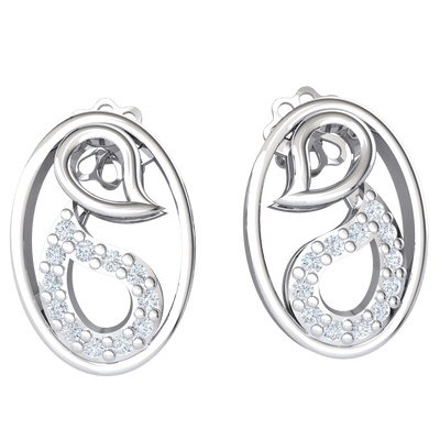 0.11 Ctw Artistically Made Real Oval Shaped Earrings With Beautiful White Diamonds And Sparkling Designs in GH I1 14 kt Gold