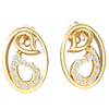 Artistically Made Real Oval Shaped Earrings With Beautiful White Diamonds And Sparkling Designs 0.11 Ct JK I1 and 10 kt Gold