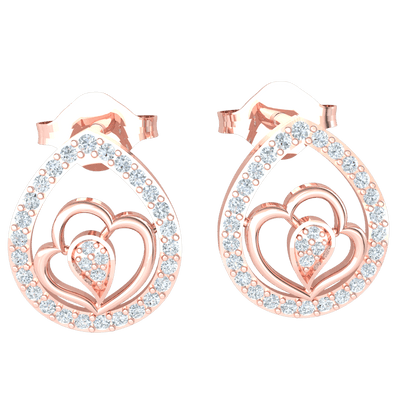 0.30 Ctw Mesmerizing Real Tear Shaped Earrings Embedded With Beautiful White Diamonds In The Middle Stands A Double Heart Enclosing More White Diamonds in JK I1 10 kt Gold