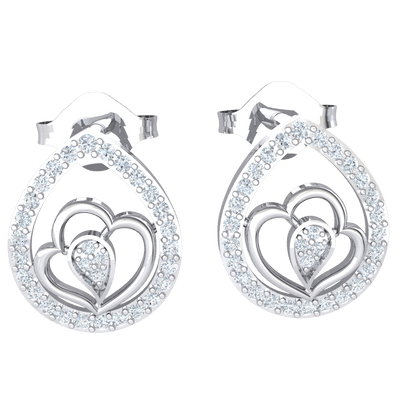 0.30 Ct GH I1 Mesmerizing Real Tear Shaped Earrings Embedded With Beautiful White Diamonds In The Middle Stands A Double Heart Enclosing More White Diamonds in 14 kt Gold