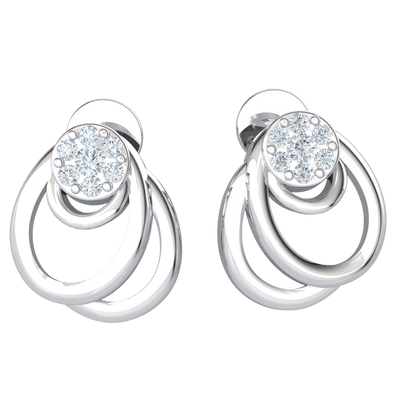 0.12 Ct JK I1 Beautifully Made Real Stud Earrings With 7 White Diamonds And 3 Small Dangelling Hoops in 10 kt Gold