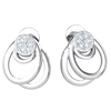 Beautifully Made Real Stud Earrings With 7 White Diamonds And 3 Small Dangelling Hoops 0.12 Ct GH I1 and 14 kt Gold