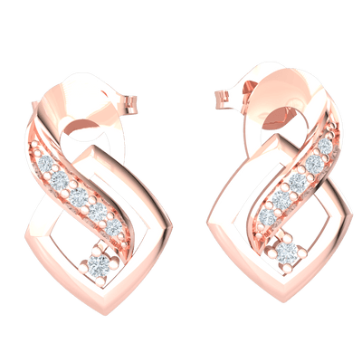 0.11 Ct JK I1 Very Unique Real Earrings With 5 White Diamonds Embedded Plus A Stand Alone White Diamond Solitare in 10 kt Gold