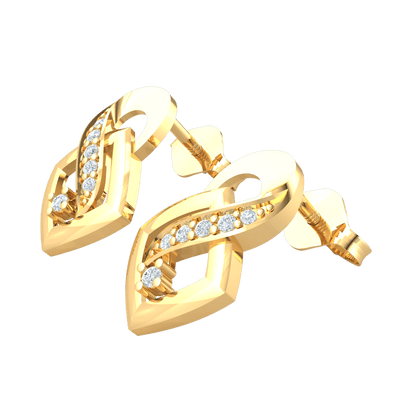0.11 Ctw Very Unique Real Earrings With 5 White Diamonds Embedded Plus A Stand Alone White Diamond Solitare in GH I1 14 kt Gold