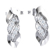 Beatifully Twisted Real Earrings Embedded With 3 Sparkling White Diamonds 0.11 Ct GH I1-I2 and 10 kt Gold
