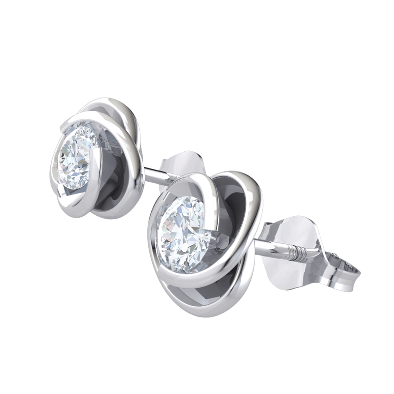 0.45 Ct JK I1 Absolutely Gorgeous White Diamond Solitare Stud Earrings Surrounded By Beautiful Real in 10 kt Gold