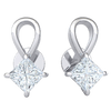 1.00 Ctw Absolutely Gorgeous Real Teardrop Stud Earrings With Beautiful Square Shaped Diamond in GH I1-I2 10 kt Gold