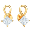 1.00 Ct IJ SI2 Absolutely Gorgeous Real Teardrop Stud Earrings With Beautiful Square Shaped Diamond in 14 kt Gold