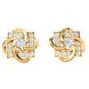 0.70 Ct GH I1-I2 Enchanting Square Shaped Real Stud Earrings Wrapped In And White Diamonds in 10 kt Gold