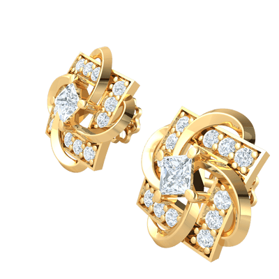 Enchanting Square Shaped Real Stud Earrings Wrapped In And White Diamonds 0.70 Ct GH I1 and 14 kt Gold