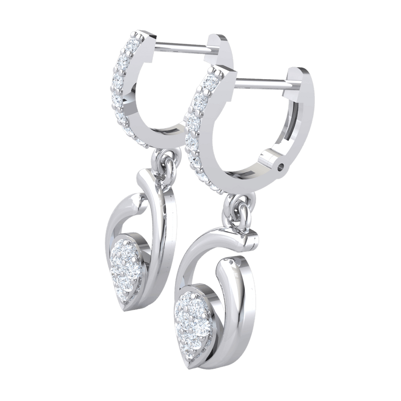 0.38 Ctw Beautiful Real Teardrop Shaped Earrings Below A Beautiful Row Of White Diamonds in JK I1 10 kt Gold