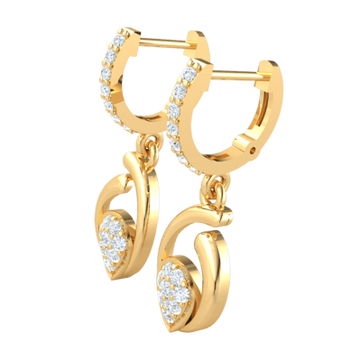 0.38 Ct GH I1 Beautiful Real Teardrop Shaped Earrings Below A Beautiful Row Of White Diamonds in 14 kt Gold