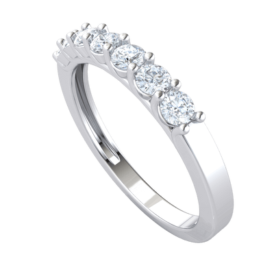 Gorgeous Real Band With 7 Extremely Elegant White Diamond Solitares 0.49 Ct GH SI2 and 14 kt Gold