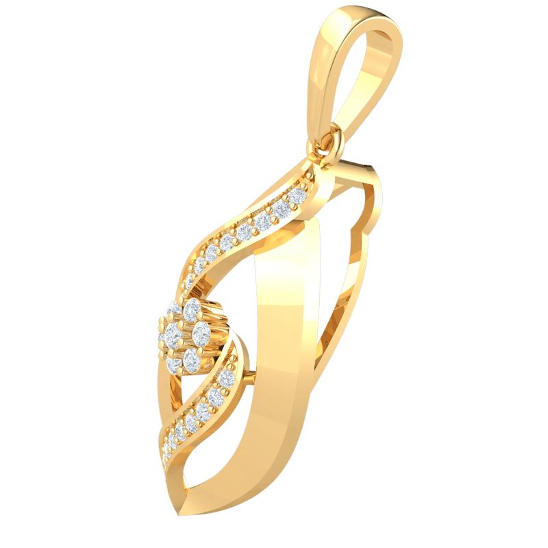 Extremely Elegant And Beautifully Crafted Real Sharp Oval Pendant With A Sparkling White Diamond Centerpiece 0.27 Ct GH I1 and 14 kt Gold