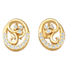Absolutely Lovely 3 Leaf Real Earrings Inside A Beautifully Crafted White Diamond Encrusted Oval 0.13 Ct JK I1 and 10 kt Gold