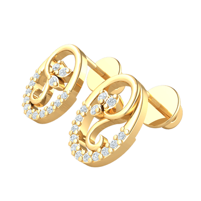 0.13 Ctw Absolutely Lovely 3 Leaf Real Earrings Inside A Beautifully Crafted White Diamond Encrusted Oval in IJ SI2 14 kt Gold