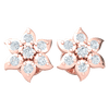 0.20 Ct GH I1 Sparkling And Whimsical Real Stud Earrings With Beautifully Displayed 7 Stone White Diamonds in 14 kt Gold