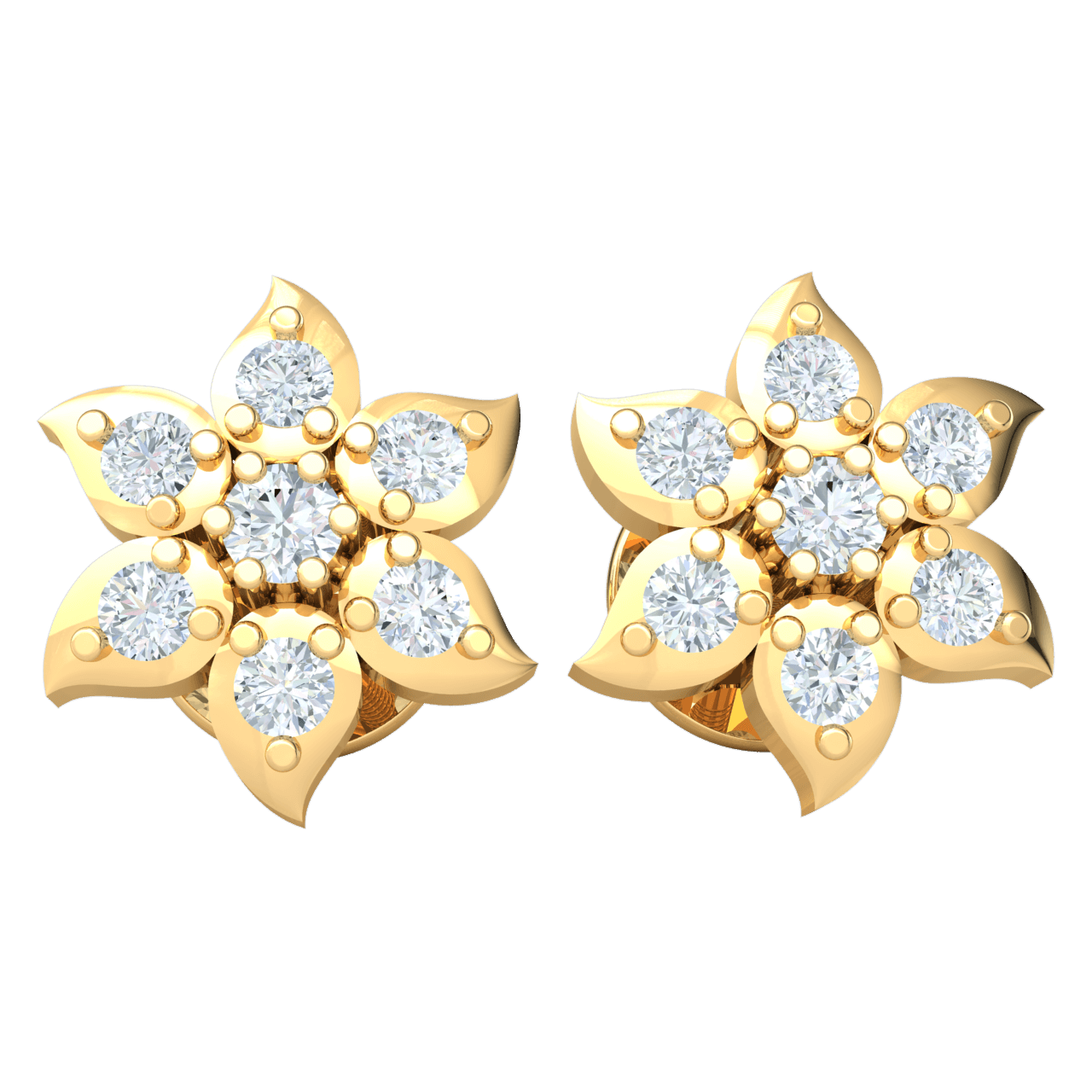 0.20 Ctw Sparkling And Whimsical Real Stud Earrings With Beautifully Displayed 7 Stone White Diamonds in JK I1 10 kt Gold