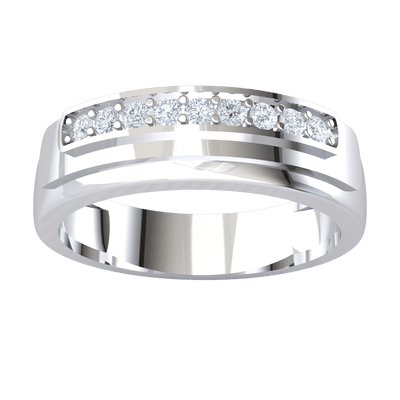 0.14 Ctw Exquisite Row Of Sparkling White Diamonds Set In A Classic Real Wide Band in JK I1-I2 .925 Sterling Silver
