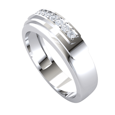 0.14 Ct GH I1-I2 Exquisite Row Of Sparkling White Diamonds Set In A Classic Real Wide Band in 10 kt Gold