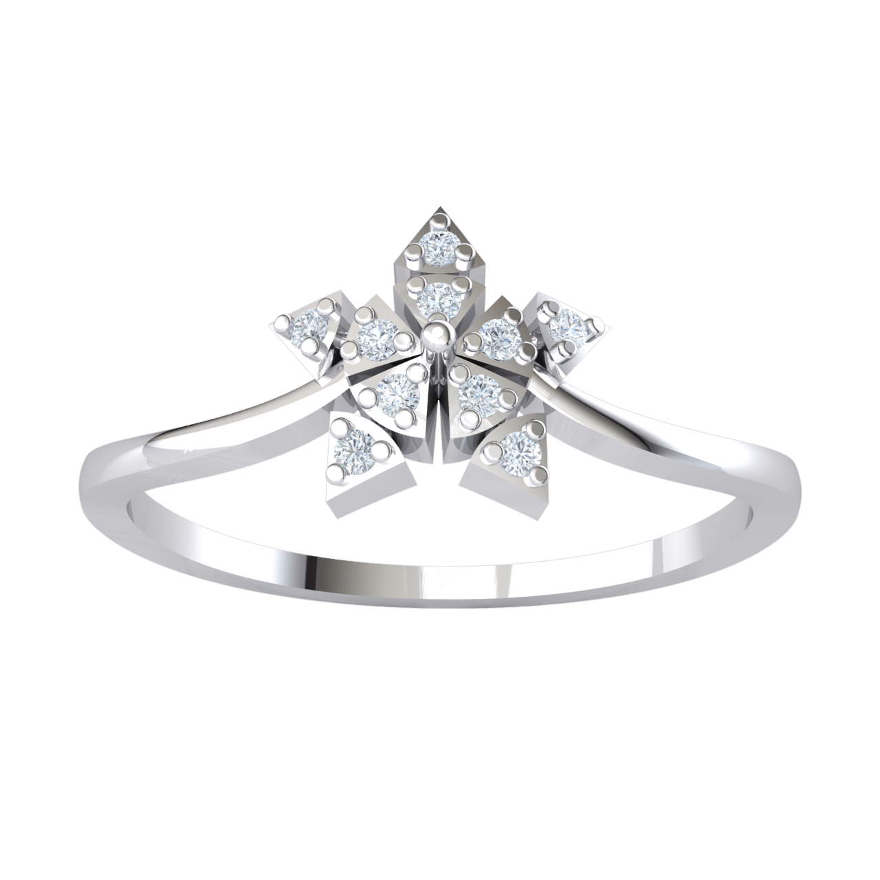 0.05 Ct H SI2 Very Creative Real Star Shaped Ring Is Made Up Of Several Triangles Each Set With A White Diamond in 10 kt Gold