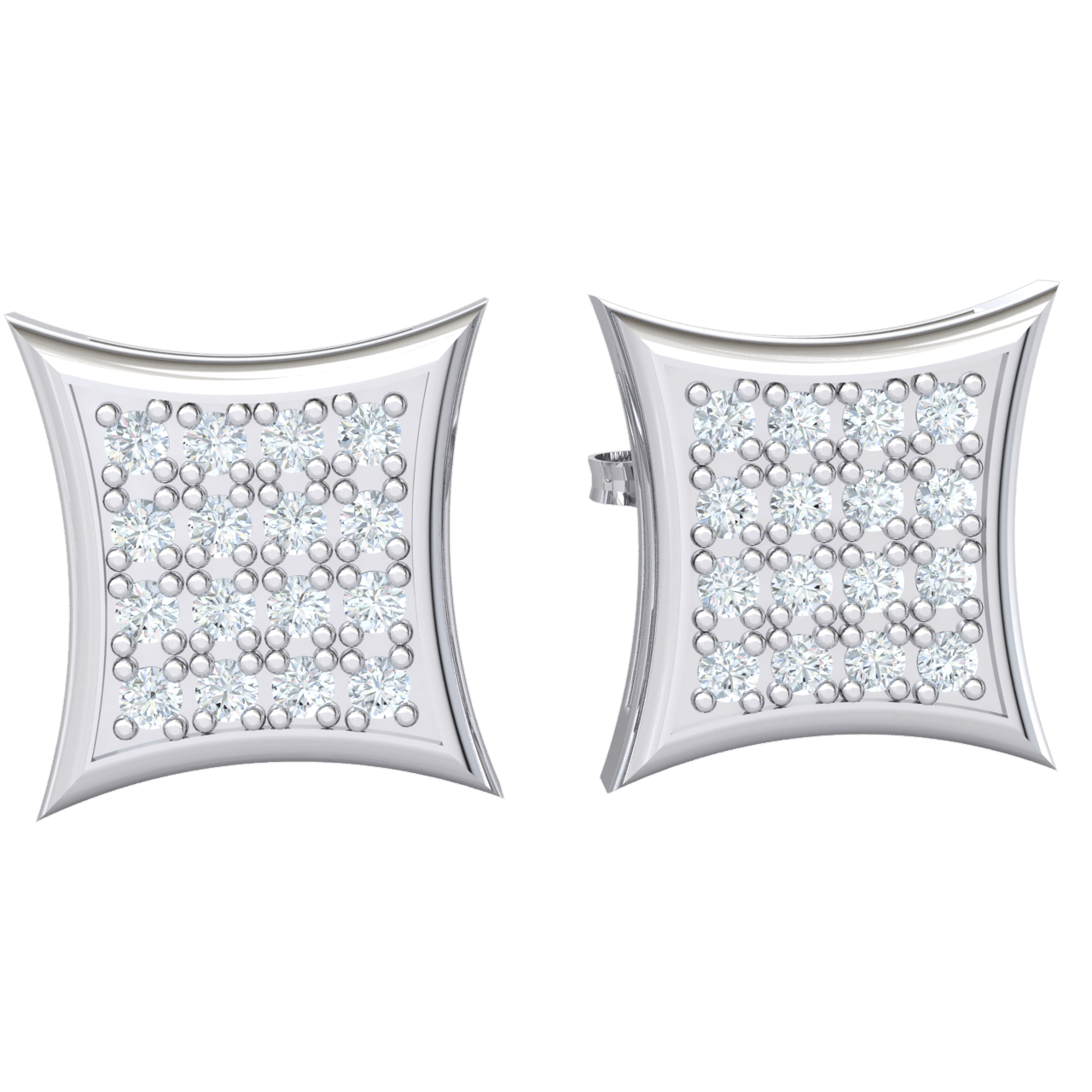 Magnificently Crafted Square Shaped Real Stud Earrings With Rows Of Beautiful White Diamonds 0.16 Ct GH I1-I2 and 10 kt Gold