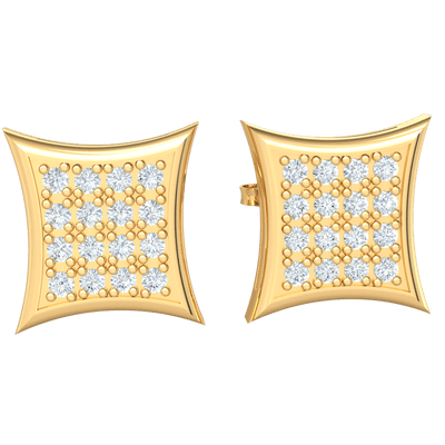 0.16 Ctw Magnificently Crafted Square Shaped Real Stud Earrings With Rows Of Beautiful White Diamonds in IJ SI2 14 kt Gold