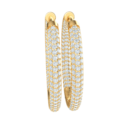 2.70 Ctw Stunning Real Hoop Earrings With Several Rows Of Sparkling White Diamonds in JK I1 10 kt Gold