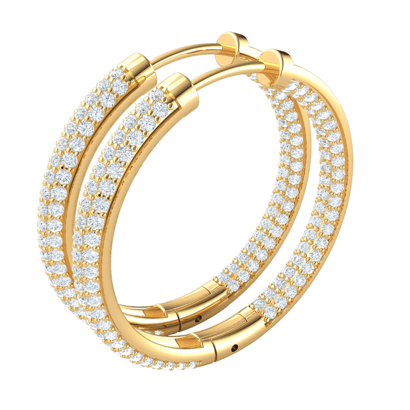 2.70 Ct GH I1 Stunning Real Hoop Earrings With Several Rows Of Sparkling White Diamonds in 14 kt Gold