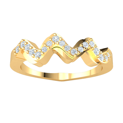 0.17 Ctw Truely Unique Real Wavy Band Encrusted With Several Sparkling White Diamonds in GH I1-I2 10 kt Gold