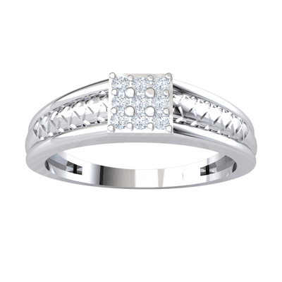 Beautiful 3 Rows Of White Diamonds Set In Square Shaped Real With An Artistic Band 0.14 Ct GH SI1 and 14 kt Gold