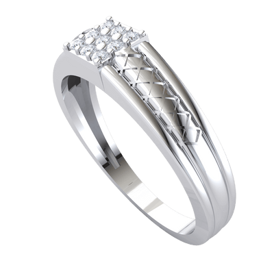 0.14 Ctw Beautiful 3 Rows Of White Diamonds Set In Square Shaped Real With An Artistic Band in JK I1-I2 .925 Sterling Silver