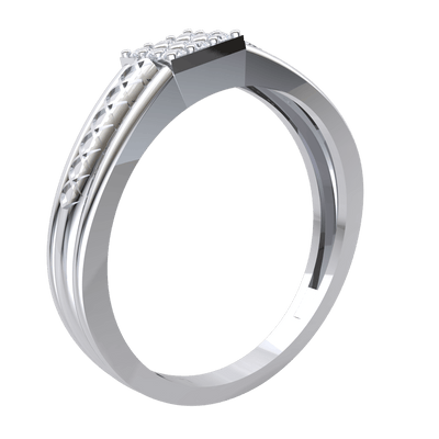 0.14 Ct GH I1-I2 Beautiful 3 Rows Of White Diamonds Set In Square Shaped Real With An Artistic Band in 10 kt Gold