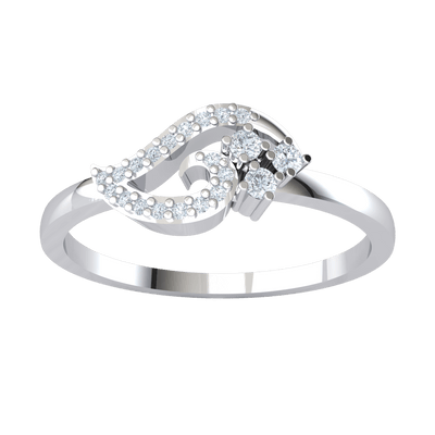 0.12 Ctw Beautifully Designed Real Band With 3 White Diamond Solitares With A And Diamond Lining in GH SI1 10 kt Gold