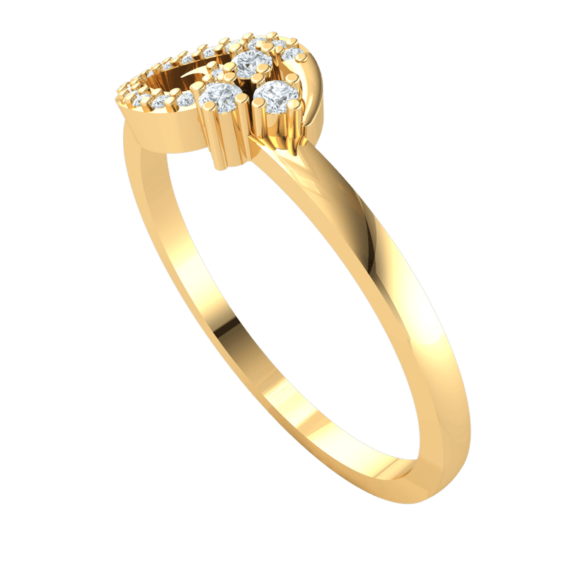 0.12 Ct GH SI1 Beautifully Designed Real Band With 3 White Diamond Solitares With A And Diamond Lining in 14 kt Gold