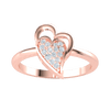 Perfectly Paired Double Heart Made Of Real And Filled With Sparkling White Diamonds 0.09 Ct GH I1 and 14 kt Gold