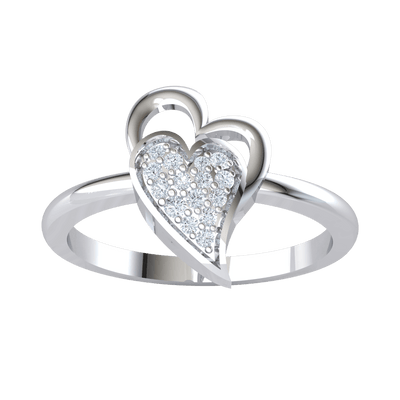 0.09 Ctw Perfectly Paired Double Heart Made Of Real And Filled With Sparkling White Diamonds in GH I1-I2 .925 Sterling Silver