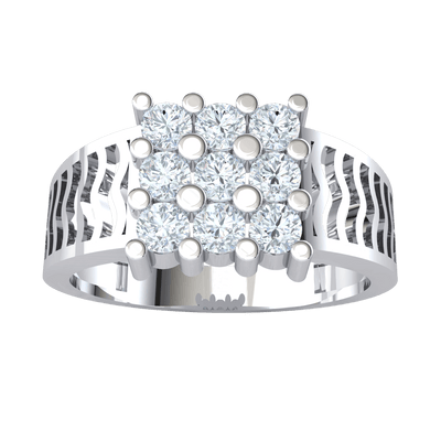 0.63 Ct J SI2 Exquisite 3 Row White Diamond Solitares With Incredible Artistic Design In A Real Band in 10 kt Gold