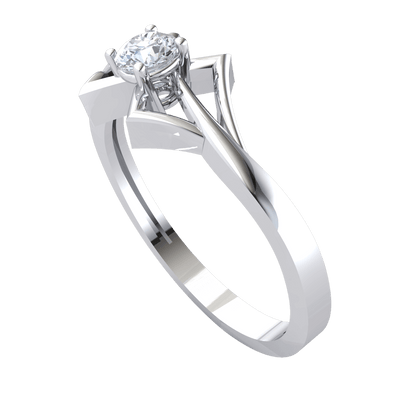 One Of A Kind White Diamond Solitare Set In An Artistic Design Made Of Real 0.19 Ct J SI2 and 10 kt Gold