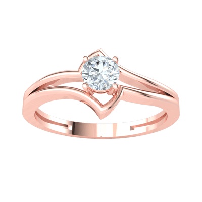 0.27 Ctw Gorgeous White Diamond Solitare With An Artistic Flare Set In Real in GH SI2 14 kt Gold