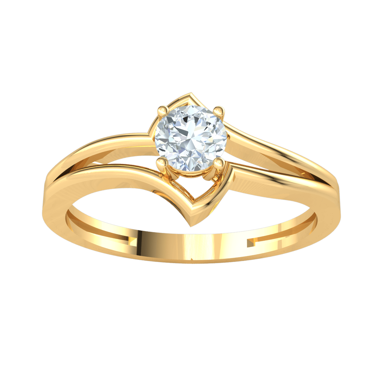 Gorgeous White Diamond Solitare With An Artistic Flare Set In Real 0.27 Ct J SI2 and 10 kt Gold