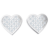 Enchanting Heart Shaped Real Stud Earrings Bedazzled With White Diamonds 0.19 Ct JK I1 and 10 kt Gold
