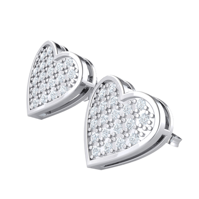 0.19 Ctw Enchanting Heart Shaped Real Stud Earrings Bedazzled With White Diamonds in IJ SI2 14 kt Gold
