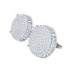 1.50 Ct GH I1 Beautiful Real Circular Stud Earrings With Rows Of Sparkling White Diamonds in 14 kt Gold