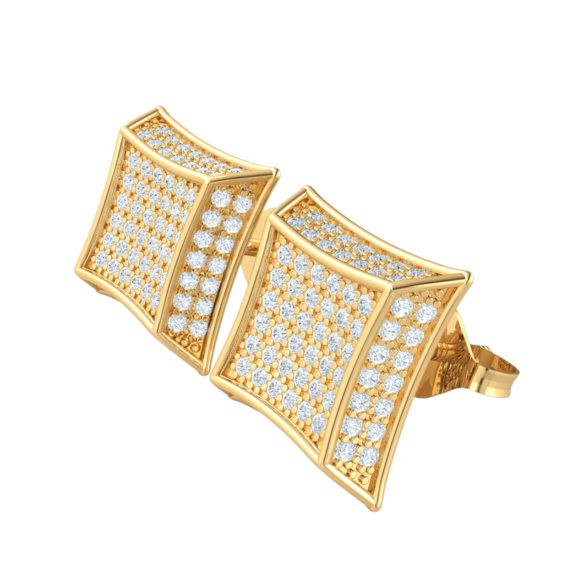 0.80 Ct GH I1 Elegant Square Shaped Real Stud Earrings Embedded With Rows Of Sparkling White Diamonds in 14 kt Gold