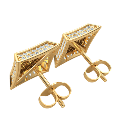 0.80 Ctw Elegant Square Shaped Real Stud Earrings Embedded With Rows Of Sparkling White Diamonds in JK I1 10 kt Gold