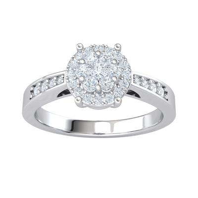0.34 Ct J SI2 Extremely Elegant 7 Stone White Diamond Centerpiece Surrounded By Diamonds In A Partial Diamond Filled Real Band in 10 kt Gold