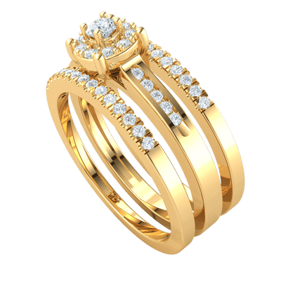 Exquisite Multi Stone! White Diamond Solitare Surrounded By Diamonds With Double Diamond Filled Bands All Set In Real 0.46 Ct IJ SI2 and 14 kt Gold