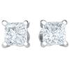 0.34 Ctw Absolutely Stunning Square Cut White Diamond Stud Earrings Set In Real in GH I1 14 kt Gold