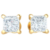 0.34 Ct GH I1-I2 Absolutely Stunning Square Cut White Diamond Stud Earrings Set In Real in 10 kt Gold